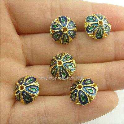 18534 2pcs Enamel Blue Flower Golden Cloisonne 12mm Spacer Beads for Bracelet