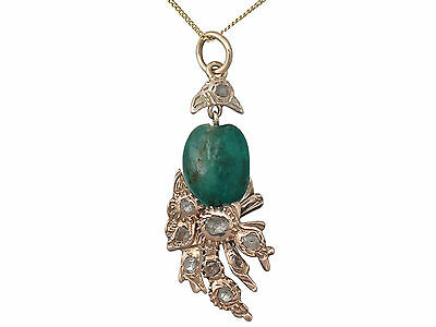 Antique Victorian Emerald and 0.52Ct Diamond, 9k Yellow Gold Pendant