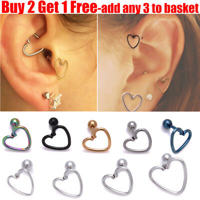 Surgical Steel Hollow Heart Helix Daith Stud Tragus Stud Cartilage Stud Earring