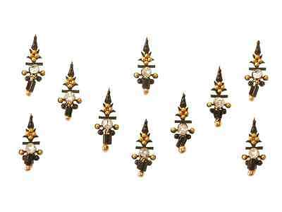 Black Gold Tribal Belly Dance Bindi Beaded Indian Body Stickers