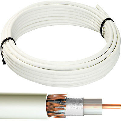 25M White RG6 Coaxial Cable - Copper - Aerial Satellite Freeview Wire Quality TV