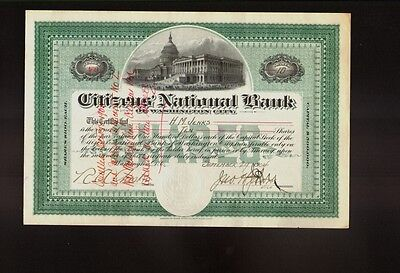 Citizens' National Bank of Washington City DC dd 1904 issued to H M Jenks