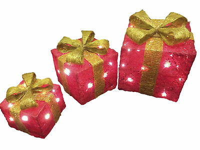 Set of 3 Pre-Lit LED Christmas Parcels Gift Boxes Festive Xmas Tree Decoration