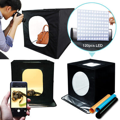 "Photo Studio 24"" LED Lighting Cube Soft Box Shooting Tent w/ LED Light Backdrops"