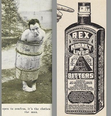 Rex Bitters Blood Cure Kidney Liver Barrel Man Manitowoc Advertising Trade Card