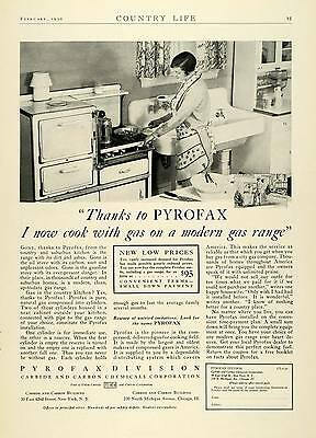 1930 Ad Pyrofax Gas Range Stove Cooking Kitchen Household Appliances COL2