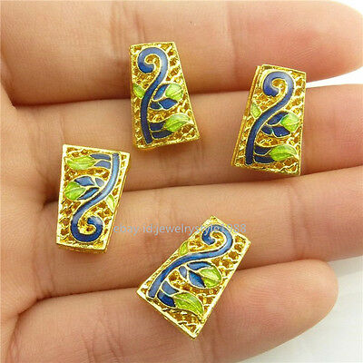 18569 2pcs Golden Cloisonne Trapezoid Enamel Blue Leaves Leaf 15mm Spacer Beads