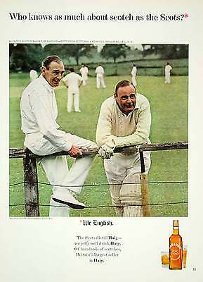 1965 Ad Vintage Haig & Haig Scotch Whisky Cricket Players Game Stanway YMMA3