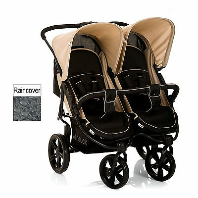 Hauck Roadster Duo Slx Double Twin Four Wheel Pushchair Almond / Caviar 3M +