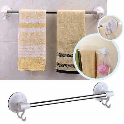 Stainless Steel Wall Suction Cup Bathroom Clothes Towel Rack Shelf Holder 2 Hook