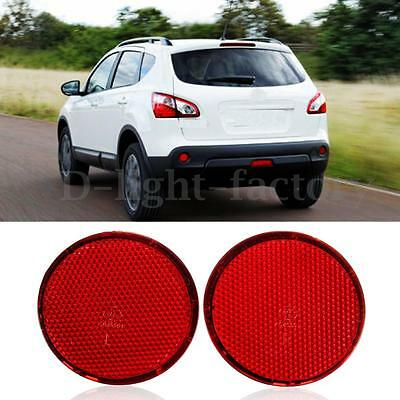 Pair Red Left & Right Rear Bumper Round Reflectors For Nissan QASHQAI 2007-2015