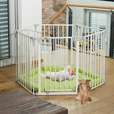 Hauck Baby Park Playpen / Stair Gate / Fire Guard / Divide - White With Playmat