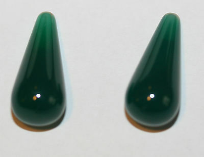 AAA TOP FINE  Green Agate   Drop Briolette  Pair  18x8mm Half Drilled
