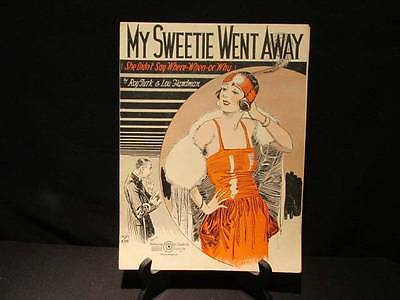 My Sweetie Went Away She Didn't Say Where-When-or Why 1923 Vintage Sheet Music