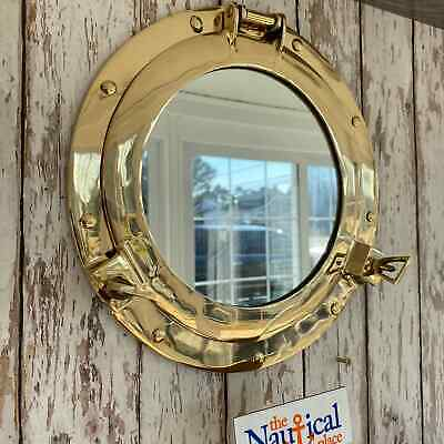 "11"" Brass Porthole Mirror ~ Nautical Maritime ~ Ships Port Hole"