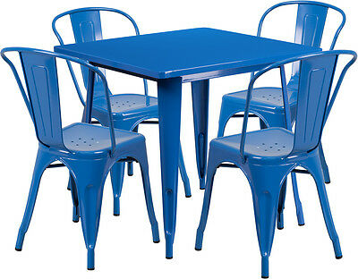 31.5'' Square Blue Metal Restaurant Table Set With 4 Stack Chairs