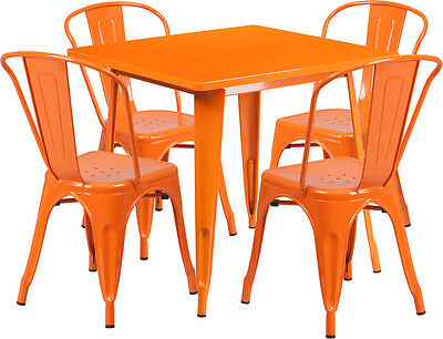 31.5'' Square Orange Metal Restaurant Table Set With 4 Stack Chairs