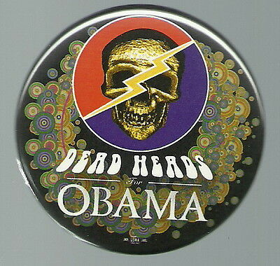 Deadheads For Barack Obama Colorful 2008 Political Pin