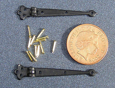 2 Black Hinges & Pins Dolls House Miniature 1:12  Door Accessories 4cm open 620