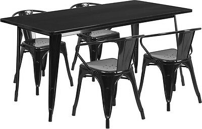 31.5'' X 63'' Rectangular Black Metal Restaurant Table Set With 4 Arm Chairs