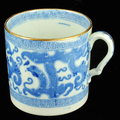Antique Staffordshire Early Export Blue & White Coffee Can Chinese Style Dragons
