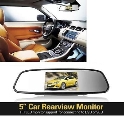 New 5 inch Digital Color TFT LCD Car Rearview Mirror Monitor 2 Video Port J2ZT