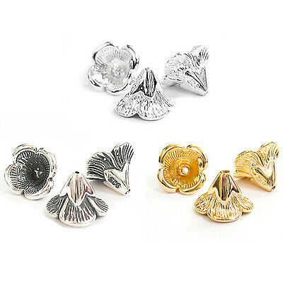 Sterling Silver Bead Flower Cone Cap 6.5mm x 9mm