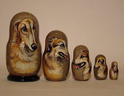 Russian Matryoshka. High quality. Hand-painted  Borzoi