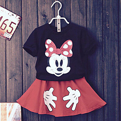 2Pcs Baby Girls Kids Minnie T-Shirt Tops+ Skirt Pants Outfits Dress Clothes 2-7Y