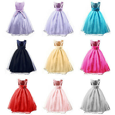 Girl Sequinned Flower Dress Princess Sash Formal Party Wedding Bridesmaid 3-12Y