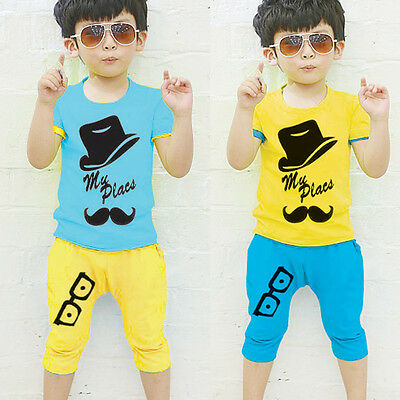 Fashion Baby Kids Boys Summer Clothes Tops T-shirt Pants Outfits Set Size 2T-6T