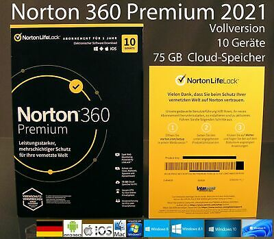 Norton Security Premium 2019 Vollversion Box 10 Geräte + 25 GB Speicher OVP NEU