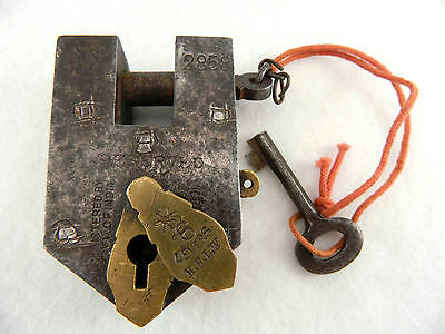 Antique Reserved K.B.Spring Trick Padlock Aligarh 6 Lever Brass & Key #2858