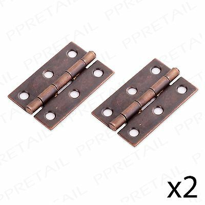 """2 PAIRS OF ANTIQUE BRASS BUTT HINGES 50mm/2"""" Cabinet/Cupboard Door Ottoman Chest"""