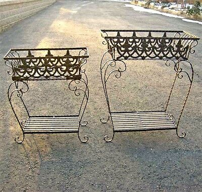 Set of 2 Victorian Plant Stands Wrought Iron Antiqued Rust Finish