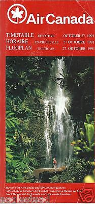 Airline Timetable - Air Canada - 27/10/91 - Hawaii waterfall cover