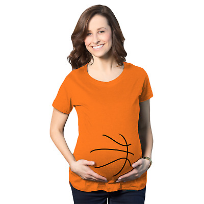 Maternity Basketball Bump Announcement Pregnancy Gift Tee for Ladies (Orange)