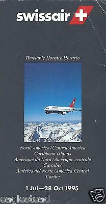 Airline Timetable - Swissair - 01/07/95 - North Central America Carib edition