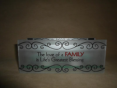 """NEW!! Frosted Glass /& Mirror Tealight Candle Holder /""""The Love Of A Family/"""".."""