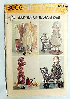 Holly Hobbie Stuffed Rag Doll and Clothes Pattern Simplicity #6006