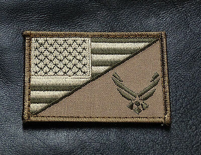 Usa Air Force Logo  Usa Flag Embroidered 3 Inch Morale Hook Patch (Af01)