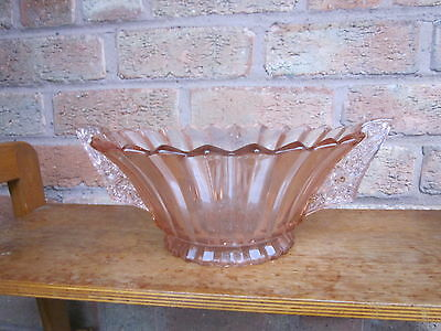 Nice Looking Unusual Glass Bowl,Pink Depression, Art Deco Style Translucent