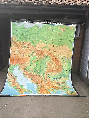 Large Rare Vintage Cloth Study School University Wall Map South & Central Europe