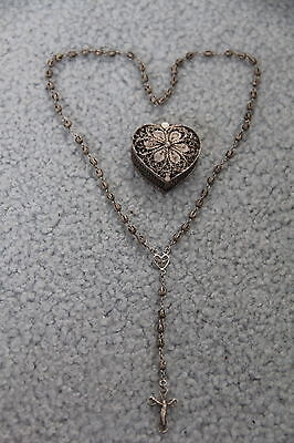 .800 Coin Silver Filigree  Rosary & Matching Heart Shaped Rosary Case