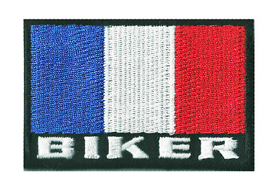 Patche écusson insigne drapeau BIKER FRANCE thermocollant patch 7 x 4,5 cm