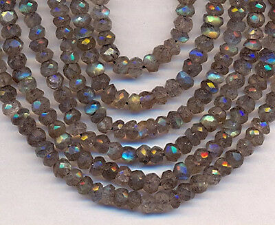 """14"""" St Natural Labradorite Faceted Roundel  Beads"""