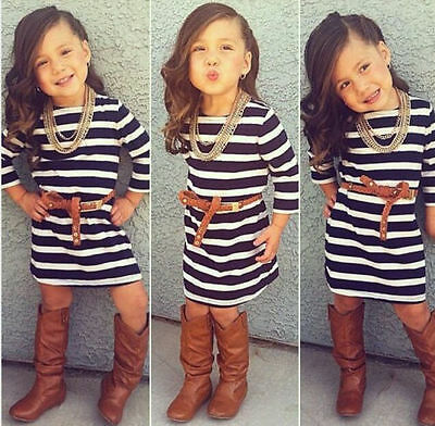 Hot Sale Kids Baby Girls Long Sleeve Striped Dress Fashion Casual Clothes 2-8Y