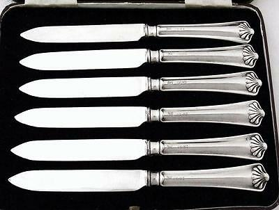 6 Antique Sterling Silver Shell Handle Side Plate Cutlery Knives dated 1918