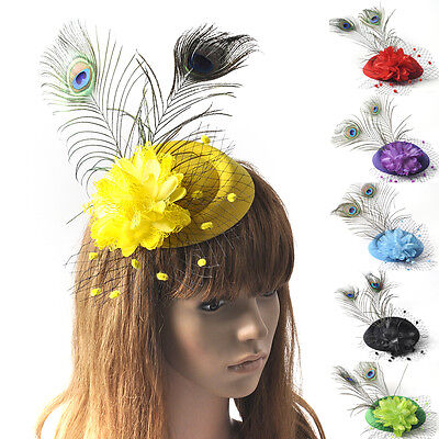 Women Hair Clip Flower Wedding Cocktail Peafowl Feather Fascinator Pillbox Hat