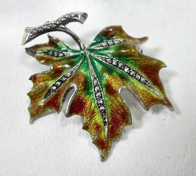 Vintage Alice Caviness Maple Leaf Pin Marcasite Sterling Silver Antique Brooch